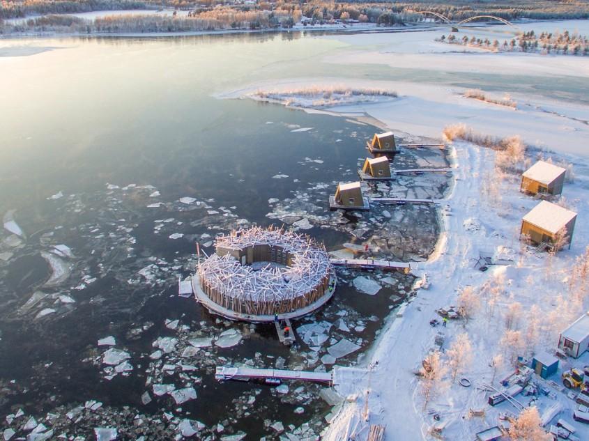 Un hotel plutitor ca un cuib de pasăre din care poți urmări Luminile Nordului