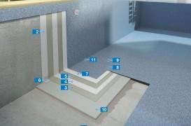 Sistem de hidroizolare și de placare cu mozaic din sticlă pentru piscine