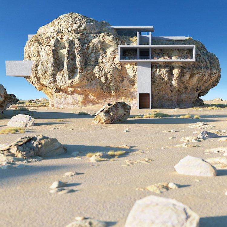 Casa imaginată într-un bloc de piatră