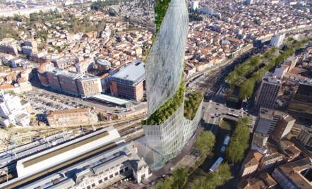 Copacii vor creste pe suprafata unui turn de birouri din Toulouse