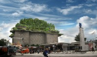 """Un buncăr vechi din al doilea razboi mondial se transformă într-un """"munte"""" verde O echipa de"""