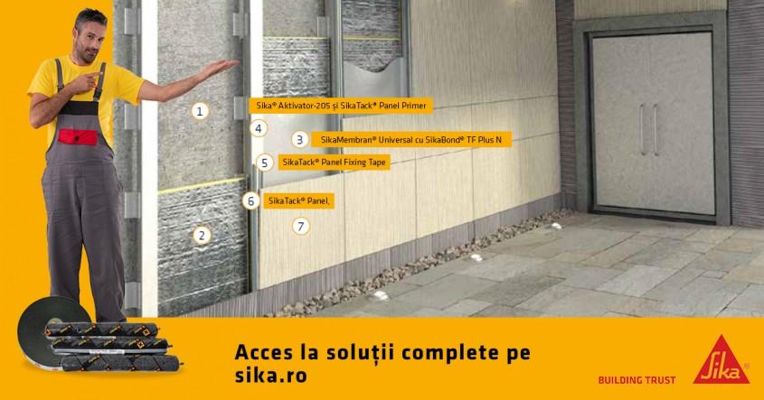 Fațadă ventilată cu sistem SikaTack® Panel – soluţie tehnică