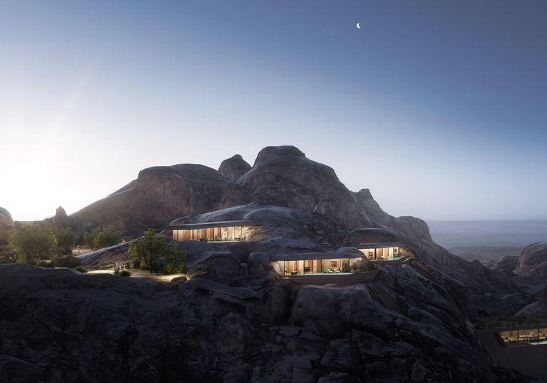 Un hotel construit în stâncă oferă privelişti magnifice asupra peisajului deşertic