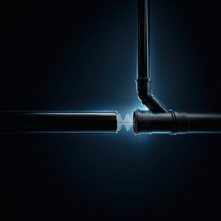 Sistem de drenare optimizat acustic cu conexiune prin apăsare