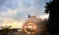 Volum din lemn cu forme organice se deschide spre mare Insula Pico apartinand Portugaliei a devenit