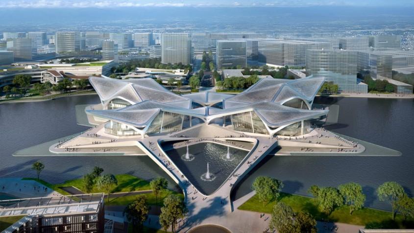 O clădire inspirată de zborul păsărilor migratoare, construită în mijlocul unui lac