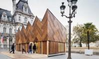 Pavilion finisat cu 180 de usi reciclate Privita de la departare aceasta constructie cu acoperis in