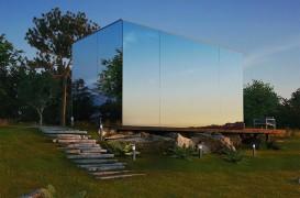 O casă modulară, cu fațada din oglindă, ce se asamblează în doar 8 ore