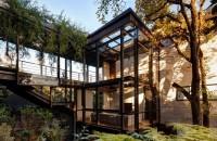 O casă printre copaci, exemplu de armonie între arhitectură și natură
