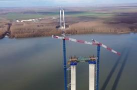 Cele mai noi imagini cu podul suspendat peste Dunăre de la Brăila