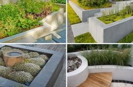 Jardiniere din beton pentru o grădină cu multă vegetaţie