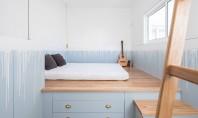 O oază pastelată idee de amenajare a unei case cu un singur dormitor Situata in spatele