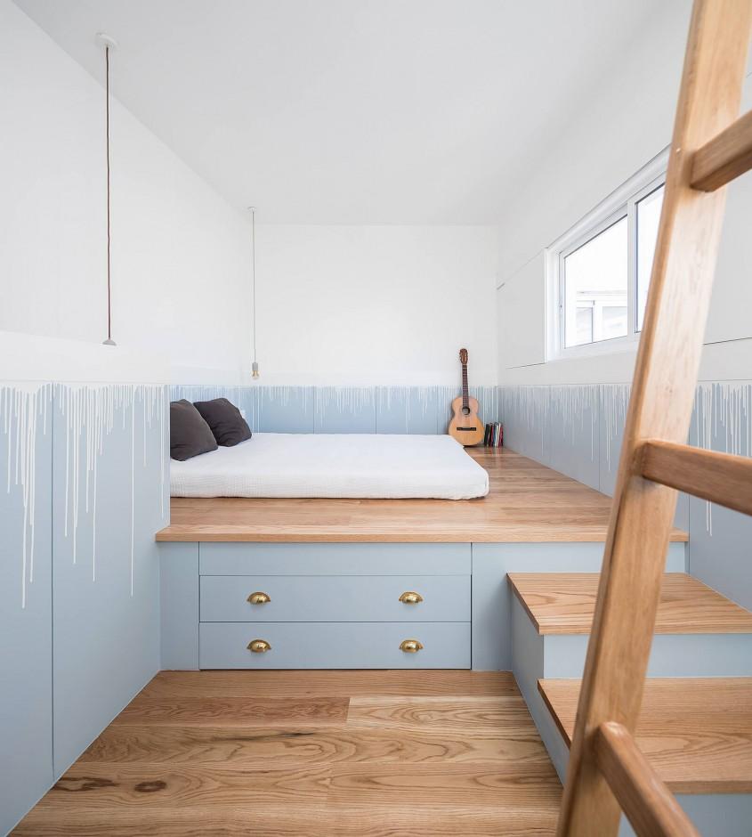 O oază pastelată: idee de amenajare a unei case cu un singur dormitor