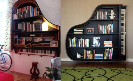 DIY cu rezultat spectaculos - transforma un vechi pian intr-un raft de perete deosebit!