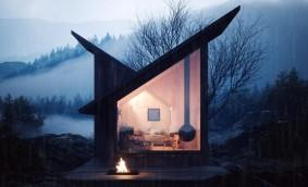 O cabană de mici dimensiuni pentru cei ce vor să evadeze în locuri îndepărtate