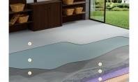 Living cu pardoseală decorativă 1 Placă din beton armat aditivat cu Sika® ViscoCrete® sau Sika® Plast®