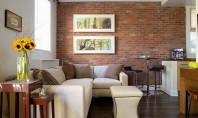 Pereți de cărămidă în amenajările interioare Peretii interiori placati cu caramida surprind privitorul si imprima un