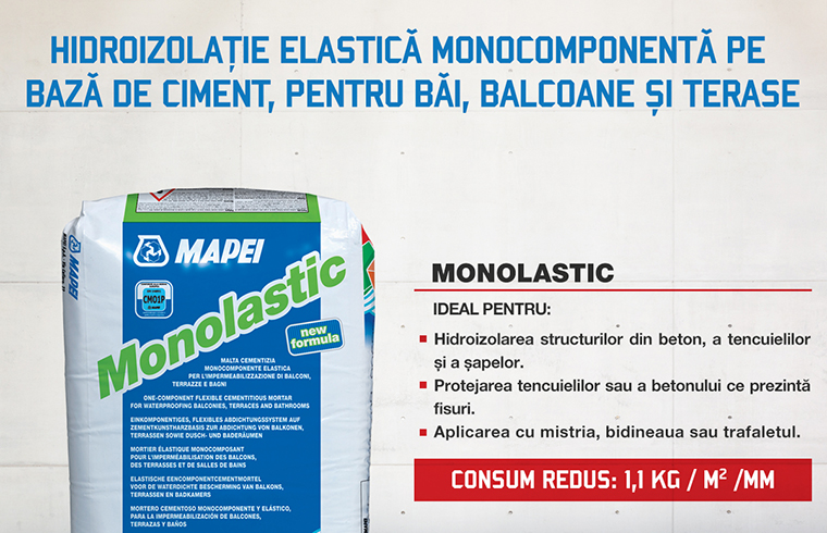 Monolastic - hidroizolatie elastica monocomponenta pe baza de ciment, pentru bai, balcoane si terase