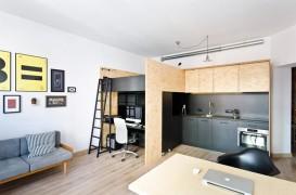Apartament minimal in care se lucreaza, se doarme si se mananca