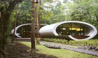 Formele organice ale unei case japoneze invaluie trunchiul unui brad Aceasta locuinta moderna cu forme organice