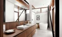 Un lavoar de baie suficient de mare sa ajunga pentru doua persoane Un lavoar generos intr-o