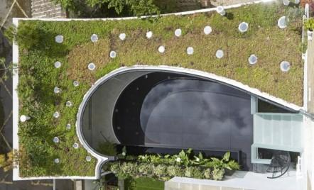 Casă cu acoperiș cu verdeață și piscină care filtrează apa de ploaie