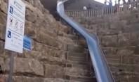 Un oraș a instalat un tobogan care scurtează distanța dintre două străzi (Video) Structura realizata din