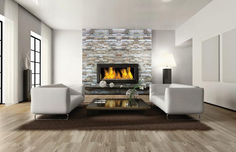 Sase idei pentru living: pereti placati cu piatra naturala
