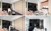 Un perete dintr-un micro-apartament mascheaza mai multe functiuni