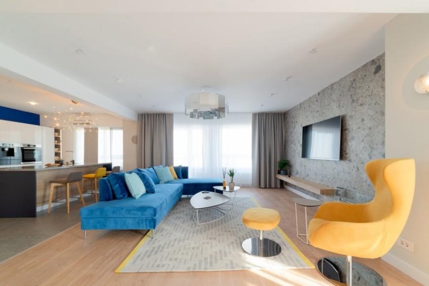 Plăci ceramice la designul interior al unui penthouse modern