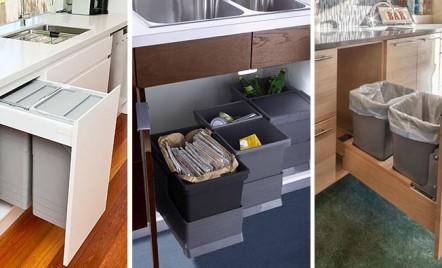 Dulapurile de bucatarie si cum putem masca in ele recipientele pentru gunoi