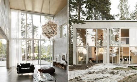 O casa compusa din sase pereti de beton armat si multe vitraje