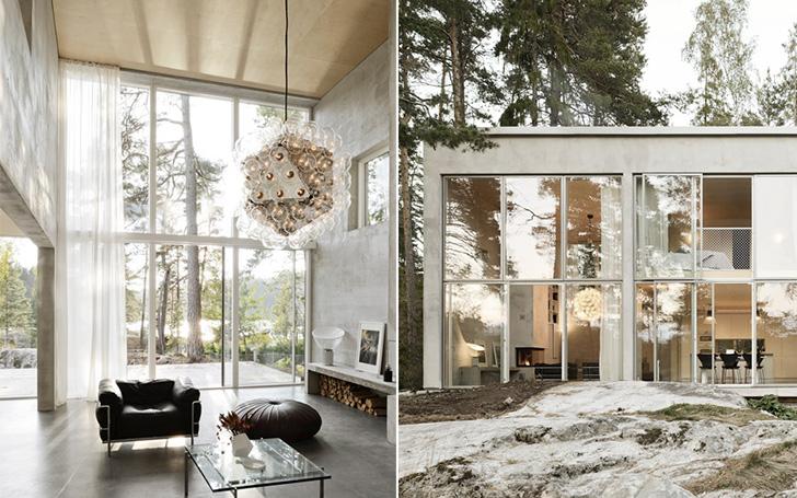 O casă cu șase pereți de beton și multe vitraje, pentru o relație necondiționată cu natura