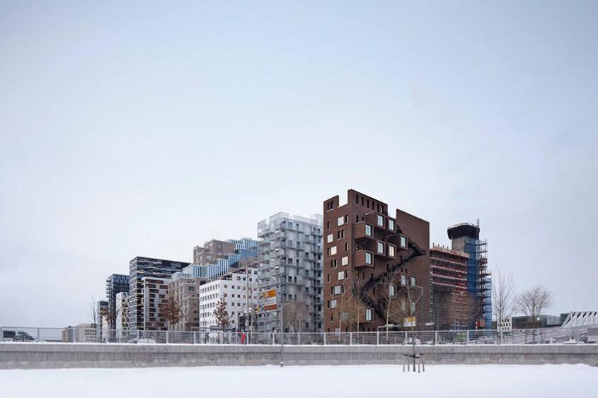 Dronning Eufemias Gate 42. Clădirea pop-out de la fiordul orașului Oslo