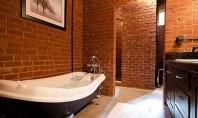 Cărămida în baie Sunt cateva moduri in care puteti decora zidul din baie folosindu-va de caramida
