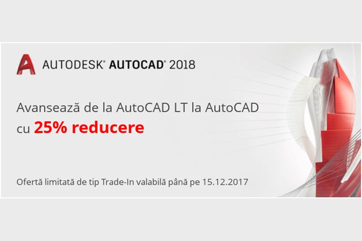 Avansează de la AutoCAD LT la AutoCAD cu 25% reducere
