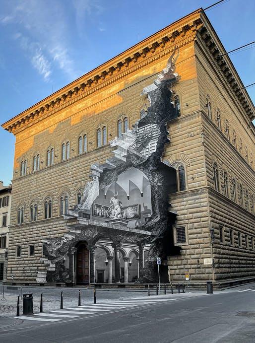 """""""Rana"""" culturii în era Covid: O iluzie optică monumentală sparge zidurile Palazzo Strozzi din Florenţa"""