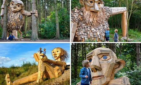 Șase giganți mari de lemn se ascund acum într-o pădure de lângă Copenhaga