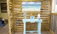 Compartimentare din paleti de lemn Compartimentarile sunt adesea necesare pentru a delimita anumite zone distincte in