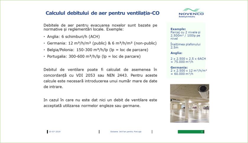 Calculul debitului de aer pentru ventilatia CO