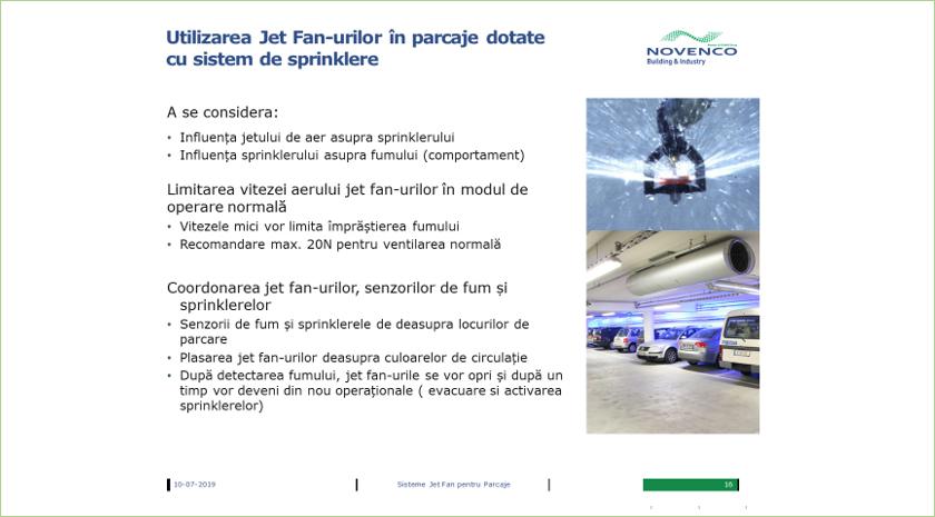 Utilizarea jet-fan-urilor in parcaje dotate cu sistem de sprinklere
