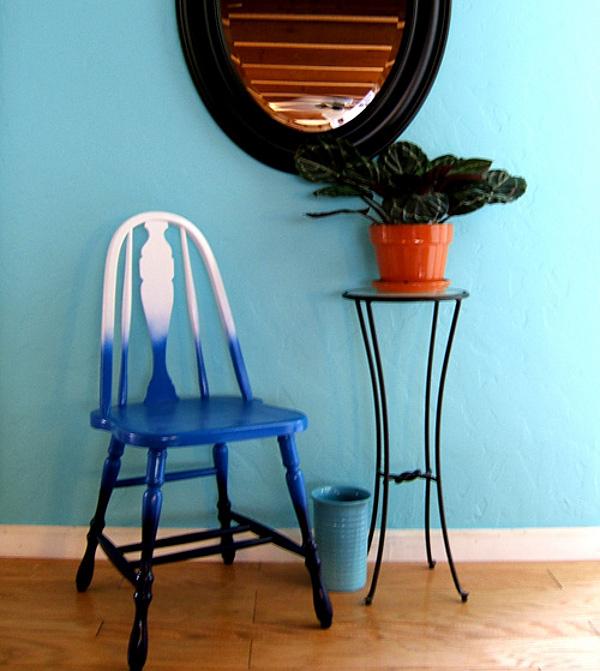 Bricolaj prin tehnica ombre - scaun colorat
