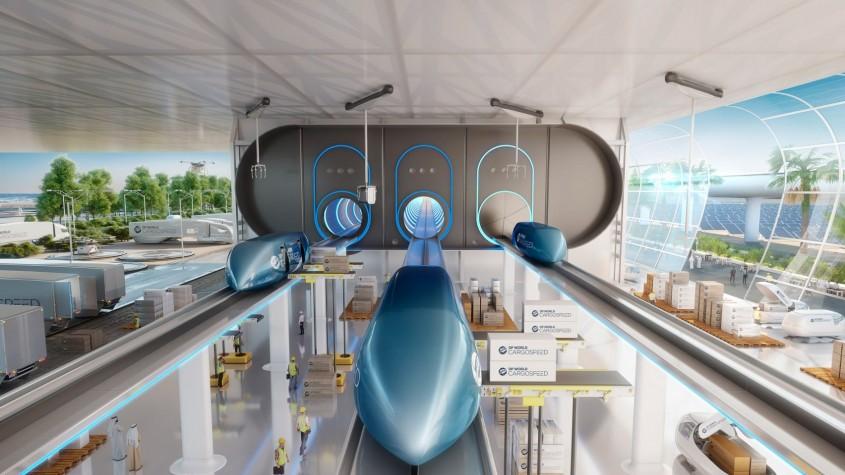 Așa ar putea arăta trenurile Hyperloop care vor transporta mărfuri cu viteza sunetului prin orașele viitorului