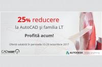 25% reducere la licențele AutoCAD, AutoCAD LT și familia LT
