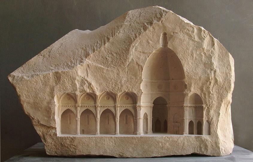 Interioare in miniatura sculptate in marmura