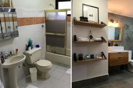 Înainte și după - o baie din anii '90 primește o reamenajare modernă