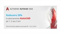 Reducere 20% la abonamente AutoCAD pe 1, 2 și 3 ani