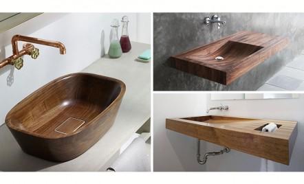 Lavoare din lemn pentru un aspect natural al baii