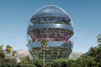 O clădire de birouri ca un dom de sticlă în care cresc arbori
