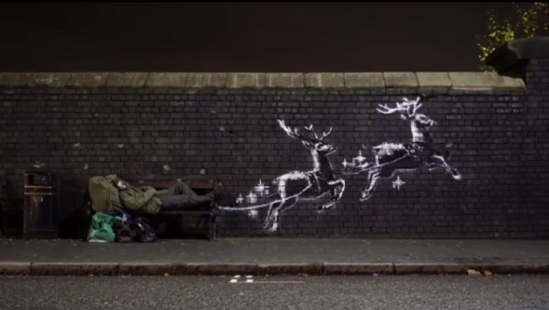 Cea mai nouă lucrare a lui Bansky este cu renii lui Moș Crăciun dar nu are